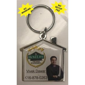 House Shaped Keychain with Full Color Domed Logo